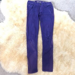 ROXY purple studded distressed denim jeans pants